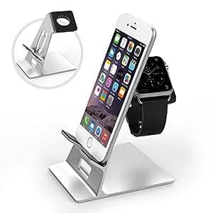 Apple Watch & iPhoneスタンド - ATiC Apple Watch [38mm & 42mm]&iPhone 6/6 Plus/5/5Sに対応 アルミニウム製 TPU接触面 アップルウォッチ&スマホ両用 充電スタンド/充電クレードルドック/チャージャースタンド SILVER
