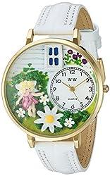花の妖精 白レザー ゴールドフレーム 時計 #G1210012