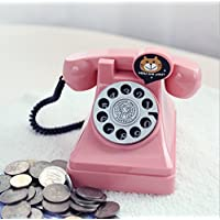HuaQingPiJu-JP プラスチックレトロ電話ピギーバンククリエイティブチャイルドギフト学生コインマネーバンク(ピンク)