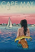 Cape May、新しいジャージー–マーメイドとビーチ–Woodblock Print 16 x 24 Signed Art Print LANT-84379-709