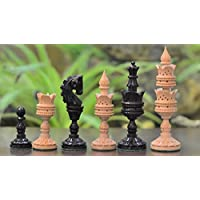 Chessbazaar The Lotus Series Handcarved Wooden Chess Pieces In Ebony & Box Wood by Chessbazaar [並行輸入品]