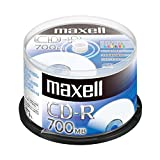 maxell データ用 (1回記録用) CD-R 700MB 48倍速対応 インクジェットプリンタ対応ホワイト(ノンワイド印刷) 50枚 スピンドルケース入 CDR700S.PNW.50SPZ