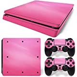 Gam3Gear Vinyl Decal Protective Skin Cover Sticker for PS4 Slim Console & Controller (NOT for PS4 or PS4 Pro) - Pink