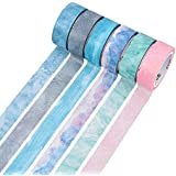Molshine Set of 6 (7.6yd/roll) Natural Color Washi Masking Tape, Sticky Paper Tape for DIY, Decorative Craft, Gift Wrapping, Scrapbook, Nordic(0.6inch Width)