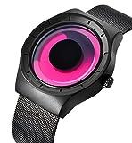 腕時計、メンズ腕時計、デザイナーズ カジュアルなビジネスファッションステンレスメッシュ防水時計 (赤と黒)