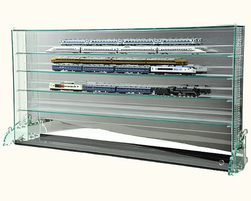 棚1段に2台置ける♪開閉に場所を取らない!フロントオープン式 Nゲージ 鉄道模型 コレクションケースW 7mm上下移動棚&置き式