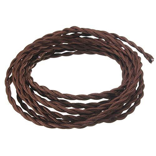 FSliving 10m 茶色 ブラウン DIY 2コアツイストコード 配線 コード ケーブル ニッ...