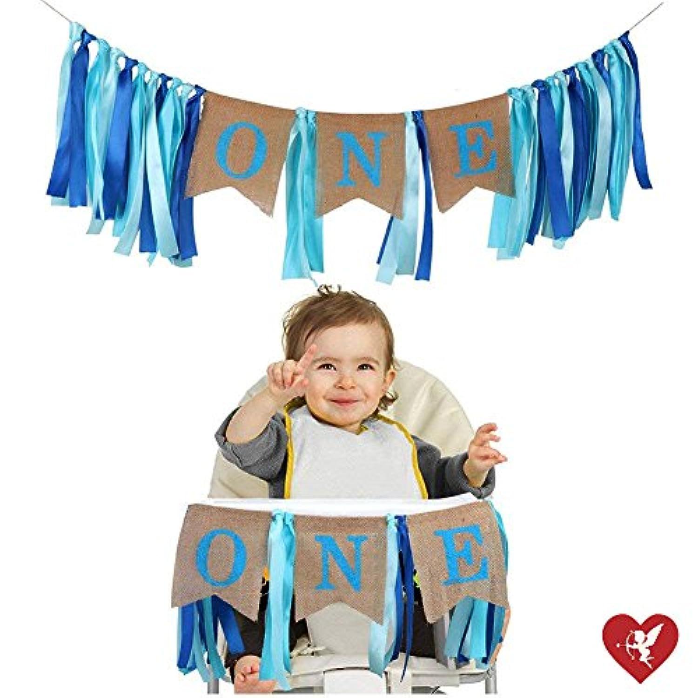 SS CohenSS Cohen1歳の誕生日装飾、男の子の赤ちゃんの初めての誕生日バナー、黄麻布ハイチェアバナー 1歳の誕生日ボーイデコレーション