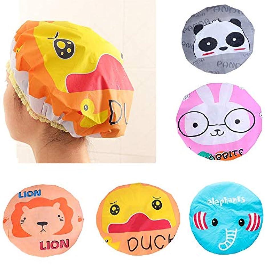 資本失効ビジョンKingsie シャワーキャップ 5個セット 動物 キャラクター かわいい 防水 ヘアキャップ 入浴キャップ 浴用帽子 バスグッズ お風呂用品 レディース