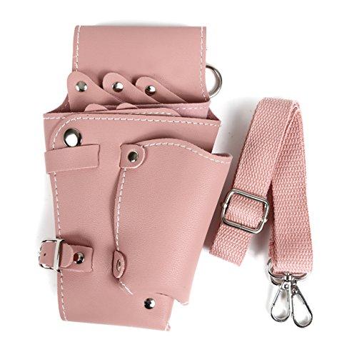 (シャルロッティ)Charlottey シザーケース 美容師 シザーバッグ 5丁 トリマー ベルト付き (ピンク)