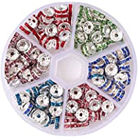 F Fityle 180x Loose Spacer Beads Rhinestones Charms Mixed For Beading Jewelry Makings