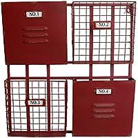 QING MEI アイアン壁掛けグリッドストレージマガジン壁装飾フレームフィニッシュスタンドフラワーマガジン収納ラック51x9x54cm (色 : Red)