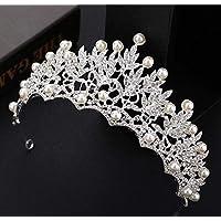 Stylish and Elegant Crown Princess Crown Crystal Big Hoop Crown Performances Birthday Party Senior Royal Treasures Luxury Hair Accessories Headdress Children wsd (Couleur du métal : White)