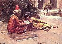 手描き-キャンバスの油絵 - Two Arabs Reading in a Courtyard Edwin Lord Weeks 芸術 作品 洋画 ウォールアートデコレーション -サイズ03