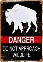 危険は野生生物に近づかないブリキ看板