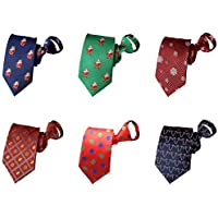 MENDENG Zipper Ties for Men Lot 6 Pack Christmas Tie Pre-tied Adjustable NeckTie
