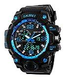 SKMEI メンズ デュアルコア アナログ デジタル表示装置 アウトドアスポーツ 多機能の防水電子時計腕時計SK1155C(ブルー)