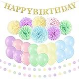 誕生日おめでとう! 誕生日 飾り付け 装飾 HAPPY BIRTHDAY 文字ガーランド ペーパーフラワー ペーパーポンポン 風船 バースデー デコレーション セット