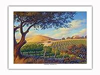 オーク・バレー・ヴィンヤード - ワインカントリーアート によって作成された カーン・エリクソン -プレミアム290gsmジークレーアートプリント - 46cm x 61cm