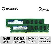 Timetec Hynix IC 8GB キット (2x4GB) デスクトップPC用メモリ DDR3L 1600 MHz PC3L 12800 非 ECC Unbufferedー 1.35V/1.5V CL11 2Rx8 デュアル ランク 240 Pin UDIMM 永久保証 (8 GB キット (2x4GB))