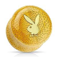 ゴールドIP Playboyロゴon有機竹木製サドルプラグ(ペアでの販売)