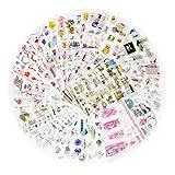 72枚入 980小片 手帳シール 和纸 自然ガーデニング植物 花 手絵 DIY 手帳ステッカー 種類いろいろ ウキウキセット スケジュールシール ギフトシール
