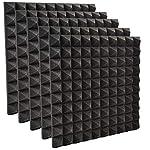 world Imp JP 高品質 防音 対策 吸音材 ピラミッド型 スポンジ 5枚 セット ウレタン 50cm × 50cm × 極厚 5cm (ブラック)