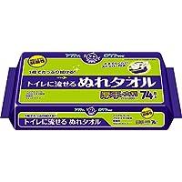 アクティ トイレに流せる ぬれタオル 大判・厚手 21.5×20cm 74枚 (片手でらくらく取出し口ストッパー)