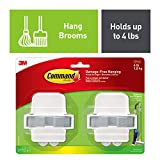 Command Broom Grippers, White, Indoor, 2 grippers, 4 strips, Value Pack (17007-HW2ES)