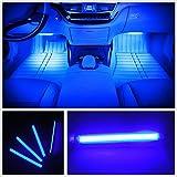 カー内部LED装飾ライト シングルカラーモード 36ランプビーズ 高輝度 車内フロア ライト イルミネーション 車内 ネオンシガーソケット(ブルー)