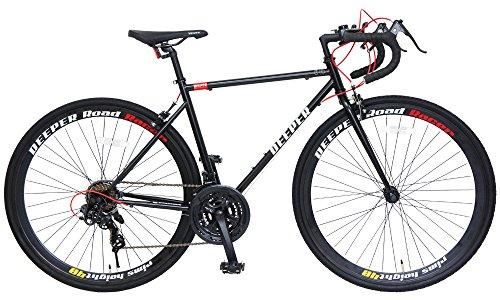 DEEPER(ディーパー) 700×28C ロードバイク 480mm シマノ21段変速 LEDライト装備 DE-3048 ブラック×レッド