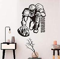 "Mrlwy""ラグビー選手ウォールステッカー男の子ルーム取り外し可能な寝室スポーツ壁用シールビニール接着ステッカー用壁カラーブラック44×52センチ"