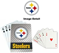 Playing Cards–NFL–ピッツバーグスティーラーズNFLチームロゴ標準サイズダイヤモンドプレートパターンPoker Blackjack Crazy Eights–52カードデッキPlus 2ジョーカー