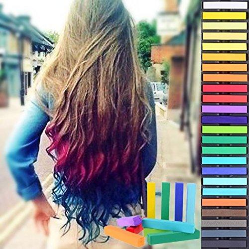 HAIRCHALKIN® 24 Colors Temporary Hair Chalk Set - Non-Toxic Rainbow Colored Dye Pastel Kit