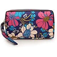 mossty Women's Nylon Wristlet Purse 3 Layers Wallet Phone Pouch Sling Clutch Handbag