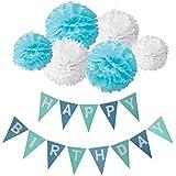 ハッピーバースデーバナーバナーキット、Wartoon 紙ポンポンズ花の吊りパーティーバナーデーの装飾 - ブルー