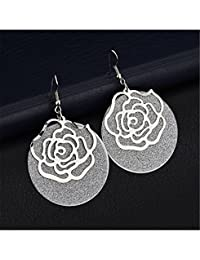 Zranda+ Fashion Cute Rose Earrings Metal Matte Circle Female Earrings