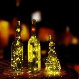 LEDイルミネーションライト Timsa 電池式 フェアリーライト LED装飾ライト 瓶の栓式 ランタン LED 飾り ライト LEDストリングライト 店舗 園芸 正月 バレンタインデー 結婚式 パーティー Halloween ハロウィン クリスマス装飾 学園祭 電飾 (LED電球数20, イエロー)