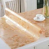 QYM PVC長方形スクラブテーブルクロス、柔らかいガラステーブルats防水クリスタルプレートコーヒーテーブルクロス (Color : B, サイズ : 80*130cm)