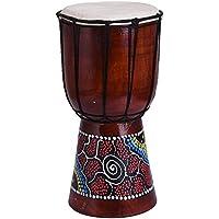 ジャンベ ミニジャンベ アジアン風ドラム民族楽器 太鼓  かわいいペイント柄 インテリア 楽器 置物 オブジェ 木製 (6インチ)