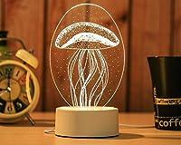 3DシンプルなアクリルナイトライトLEDフクロウクラゲテーブルランプベビーベッドルームナイトライトクリエイティブキッズバースデーバレンタインギフト (スタイル 1)