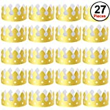 SIQUK 27 Pieces Gold Paper Crowns Party King Crown Paper Hats Paper King Crowns for Kids Adults Party and Celebration
