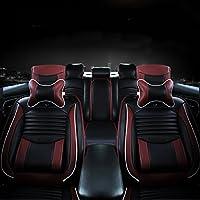 YULPING ブラックPUレザーフルサラウンドカーシートカバークッションフロント&リアセットフィット5シートカー 車のアクセサリ