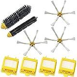 LOVE(TM)4×ヘパフィルター&ブリストルブラシとアイロボットルンバ700シリーズ760 770 780掃除機ロボットの部品のための柔軟なビーターブラシ&4×6 - 武装サイドブラシ補充キット