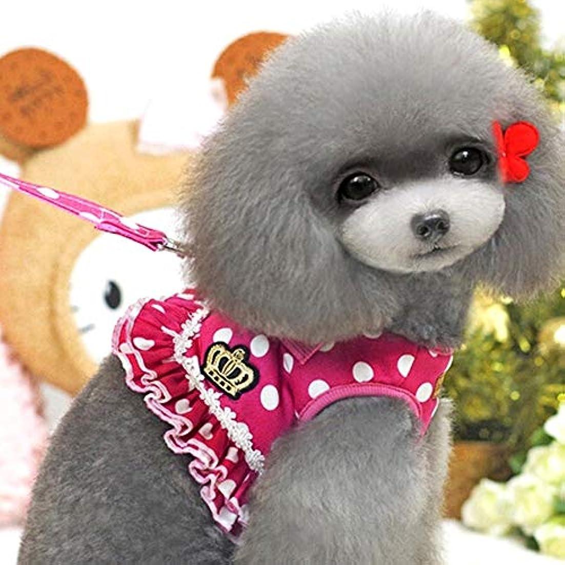 奨励しますも選出するペットウェア 小型犬 中型犬 犬ベスト ネコ かわいい 水玉 フリル ソフト ハーネス リード セット ペット牽引ロープ お出かけ用 散歩用 簡単着脱 調整可能 通気性抜群S/M/L/XL (Color : Rose red, Size : L)