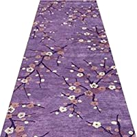 YANGJUN 廊下のカーペット 滑り止め イージーケア 丈夫 洗える ホテル 通路 家庭 梅の花 紫の カッタブル 複数のサイズ カスタマイズ可能 (色 : A, サイズ さいず : 0.8x6m)