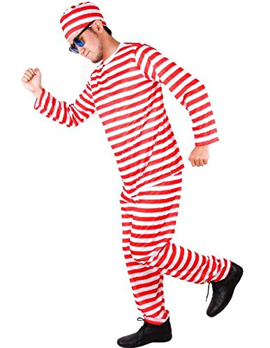 (SCGEHA) 囚人服 赤 緑 コスプレ コスチューム 衣装 男女兼用 帽子付(レッド)