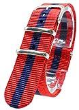 【 気分に合わせて簡単交換 】 (レッド/ネイビー 18mm) NATO タイプ ナイロン ベルト ストラップ 腕時計 2PiS 【 交換マニュアル付 】
