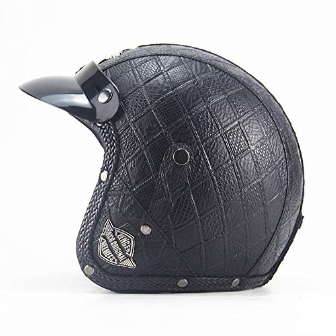 ギャラリースローガン自分の力ですべてをするTOMSSL高品質 手作りのレトロなオートバイの半分のヘルメット男性と女性の人格ハーレー機関車3/4ヘルメットペダルクルーザーレザーヘルメット黒菱形 TOMSSL高品質 (Size : XXL)