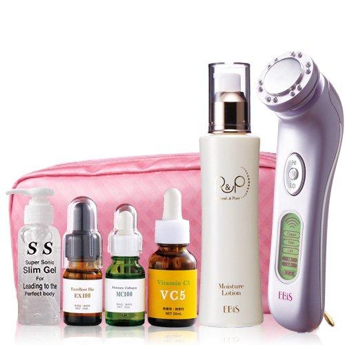エビス化粧品 美顔器 超音波美顔器 ツインエレナイザーPRO2 ホームエステDXセット 高周波 ラジオ波(RF)搭載 日本製